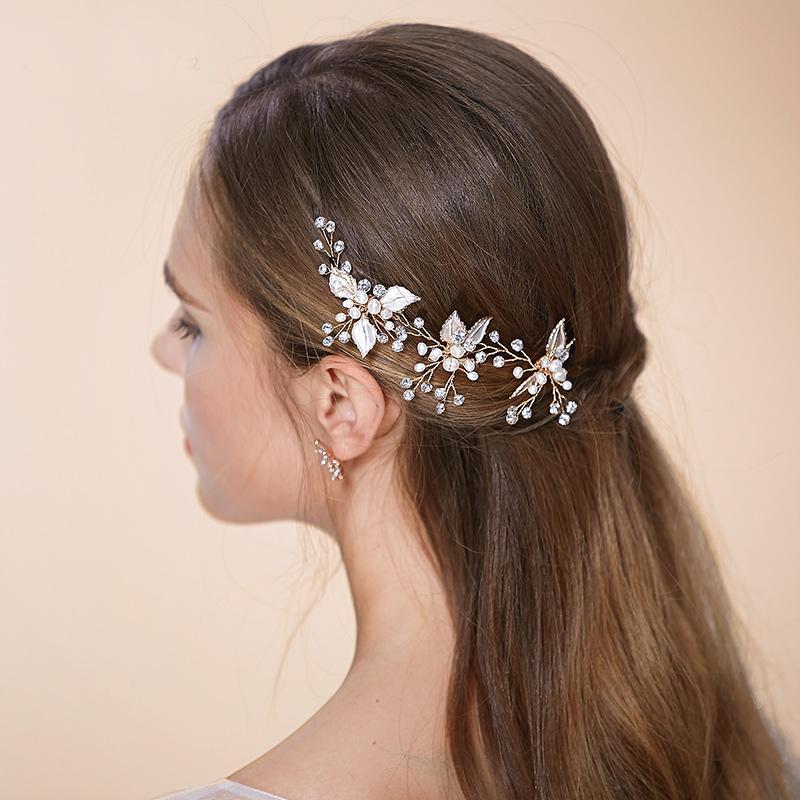 Acheter Tiaras Bobby Pins Bridal Accessoires Cheveux Petite Leaf Mariage Cheveux Pins U Shape Pin Up Pour Mariage Brides Girls Tiaras Pour Mariage De