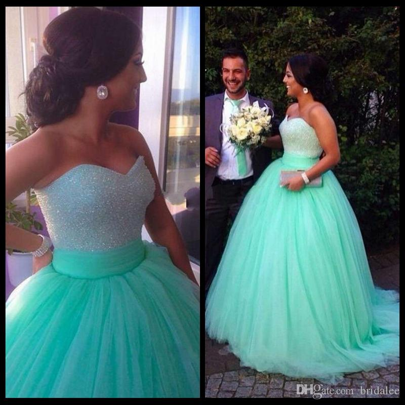 Green Ball Gown Sweetheart Vestidos De Novia Long Tulle Lace up Back Women Formal Prom Dresses for Party with Beading