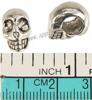 Jewelry Fittings Spacer Beads Pandora Charms Bracelets European DIY 6mm Round Large Hole Skull Antique Silver Metal Fashion New 14mm 100pcs