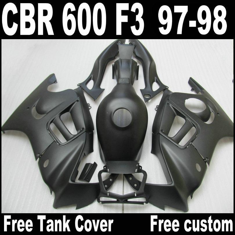 매트 블랙 ABS 혼다 용 CBR600 F3 페어링 용 페어링 키트 97 98 CBR 600 F3 1997 1998 프리 탱크 커버