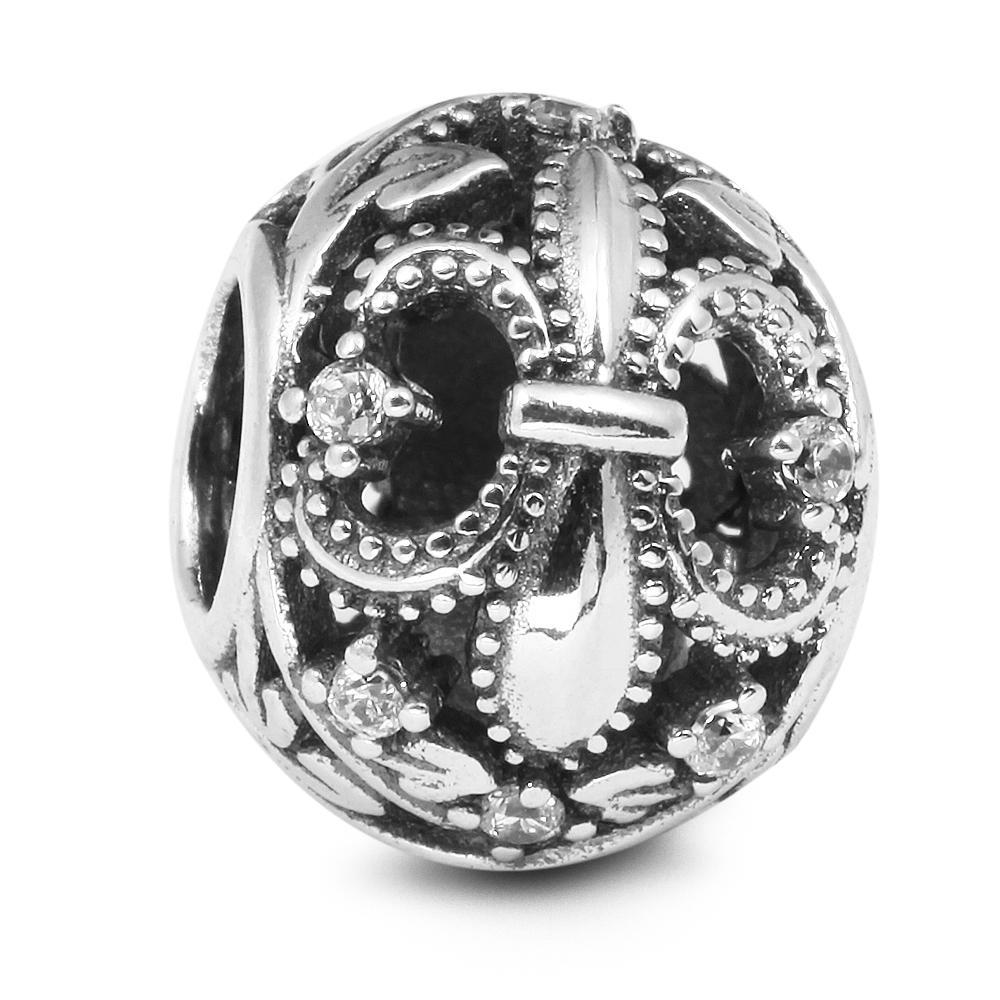 Fleur De Lis with Clear CZ 100% 925 Sterling Silver Beads Fit Pandora Charms Bracelet Authentic DIY Fashion Jewelry
