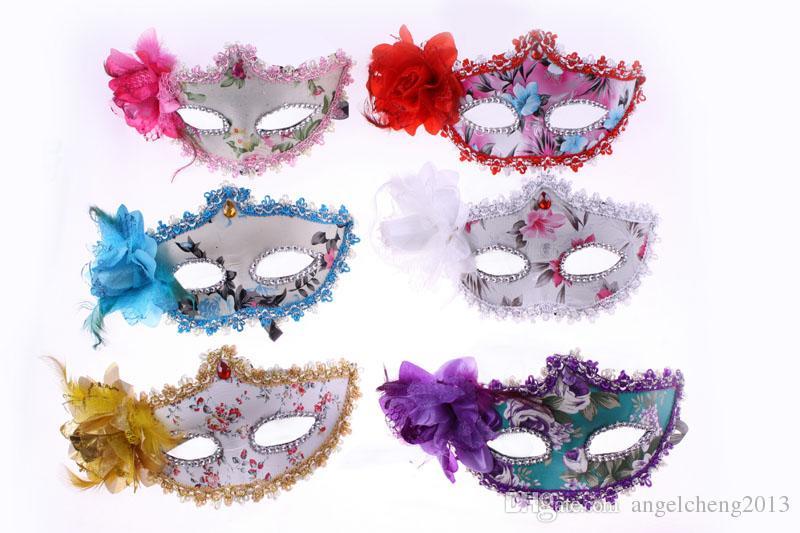 Máscara veneciana del estilo del carnaval de la mascarada bailes de disfraces, máscaras de encaje de flores Partido Prom Rhinestone Fantasía (varios colores)