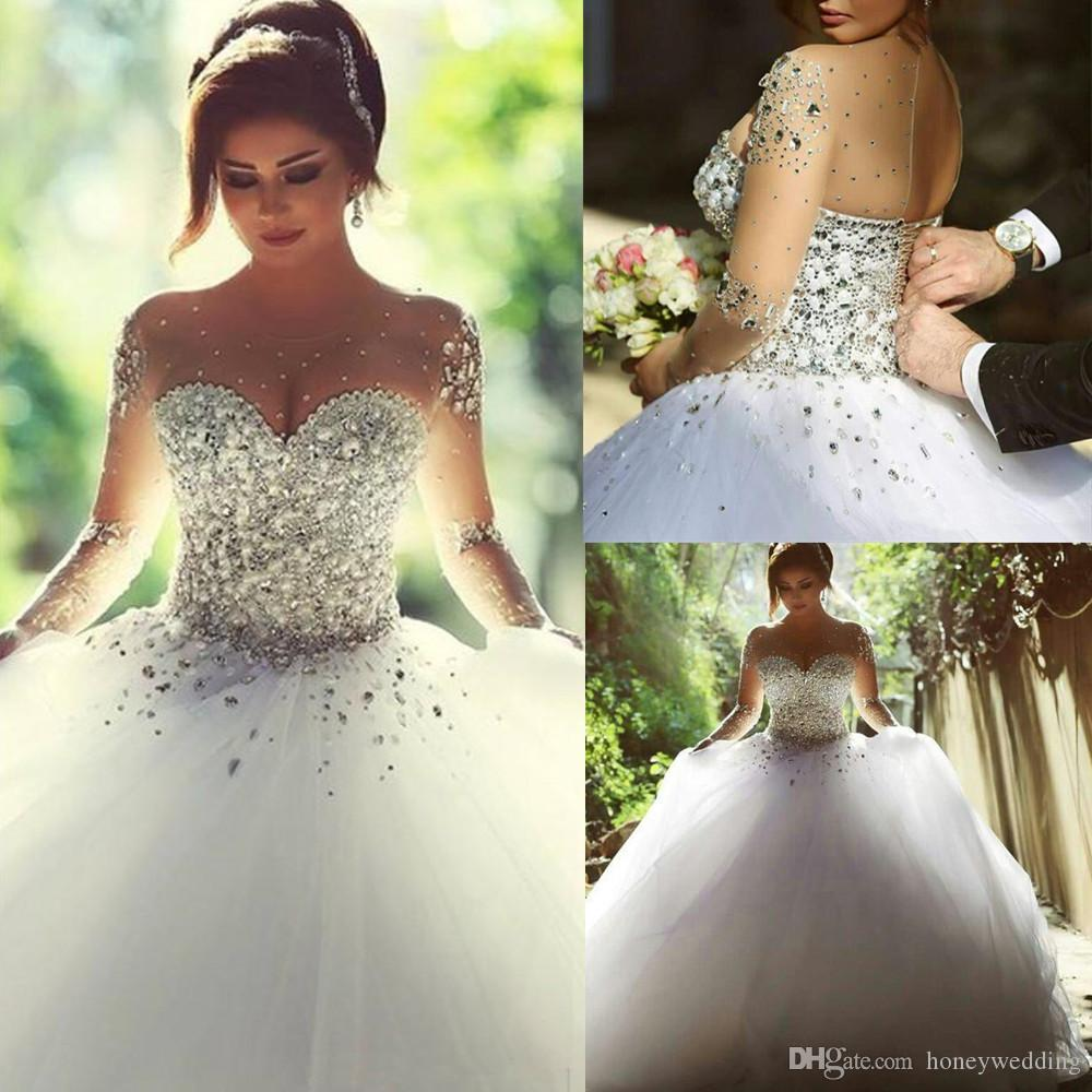 2019 Vintage Long Sleeves Wedding Dresses with Rhinestones Crystals Beaded Lace Up Back Ball Gown Plus Size Dress Arabic Bridal Gowns Cheap