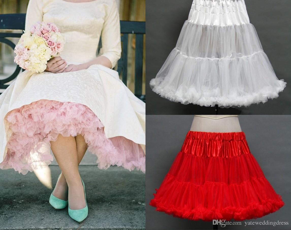 Potargane petticoats kolorowe niestandardowe wykonane dowolne kolory podkoszulek 1950s Petticoat Vintage Tulle Spódnica do sukni ślubnych Formalne sukienki 2015