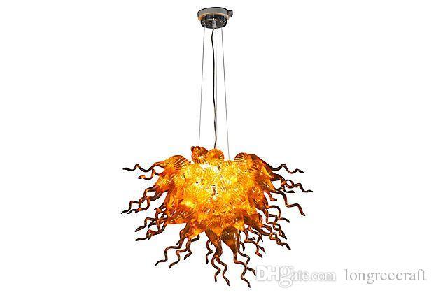 الحديث كريستال النار اللون الذهبي 28 بوصة LED أضواء الجدول Cernterpieces اليد في مهب زجاج الإنارات الثريا