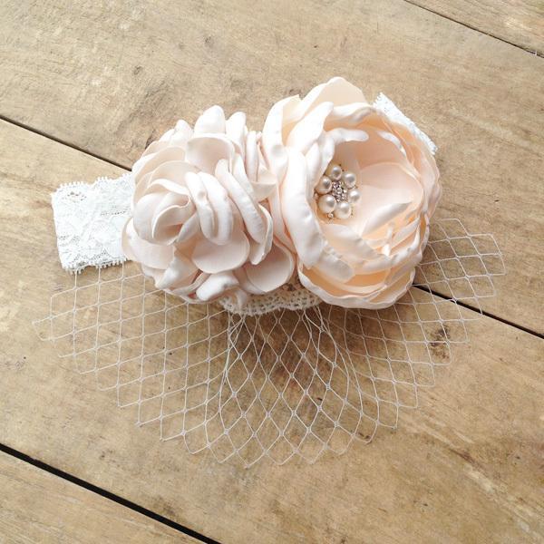 10pcs /Lot Kids Lace Headband with Burned Satin Flowers and Veil Lace Girls Headwear Fashion Headbands Children Hairband