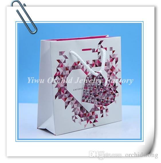 Commercio all'ingrosso 10 pezzi squisito sacchetto di carta regalo di alta qualità 16 * 16 * 6 cm adatto pandora gioielli braccialetto collana scatola sacchetto di imballaggio shopping bag