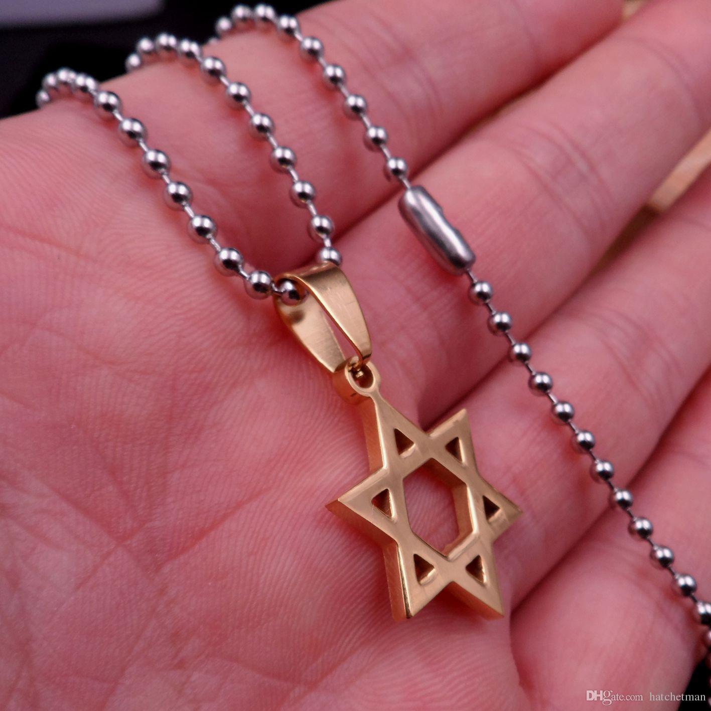 Golden Star von David Anhängern, Edelstahl-Schmuck klassische Design + 24inch Kugel Halskette Charme