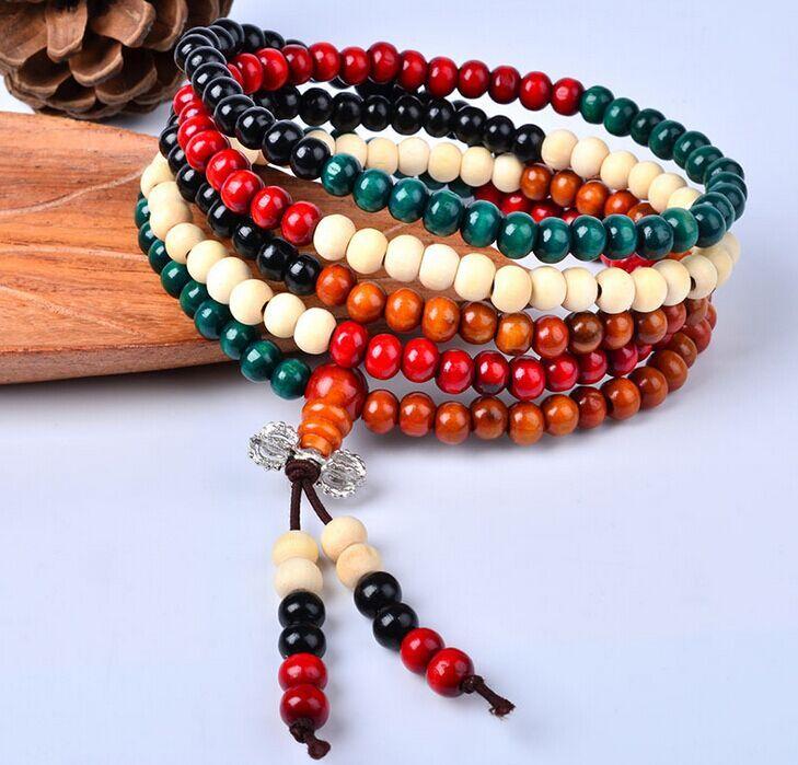 Moda multicolor 5mm 6mm Rondelle 216pcs perle di sandalo preghiera mala braccialetto Tibetano meditazione Buddha braccialetto per regalo