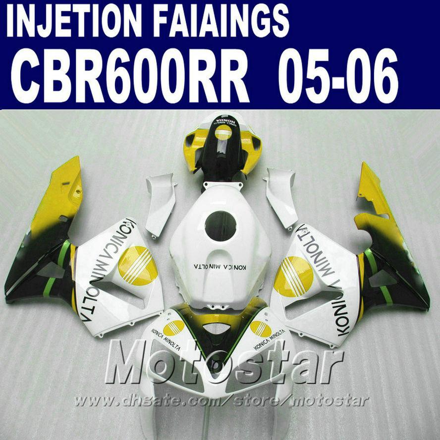 Personalizar blanco amarillo! Moldeo por inyección para carenado HONDA CBR 600 RR 2005 2006 cbr600rr 05 06 cbr 600rr carenado personalizado GE5S