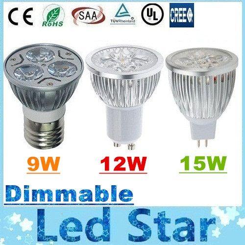 크리 9W 12W 15W LED 스포트 전구 빛 E27 E26 B22 MR16 GU10 주도 디 밍이 가능한 조명 램프 AC 110-240V / 12V