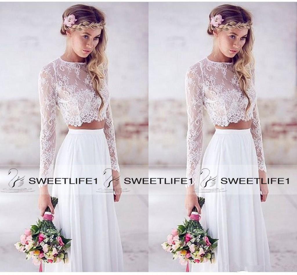 2020 Две пьесы Lace Top шифон юбка пляж свадебные платья с длинными рукавами Кружева Свадебные платья сшитое Линия невесты партии Wear
