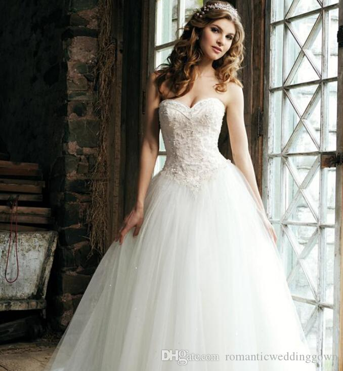 2015 Elegant Sweetheart Lace Ball Gown Wedding Dresses With ...