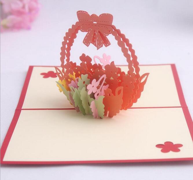 10pcs 바구니 꽃 손수 Kirigami 종이 접기 3D 팝업 인사말 카드 초대장 엽서 생일 웨딩 파티 선물