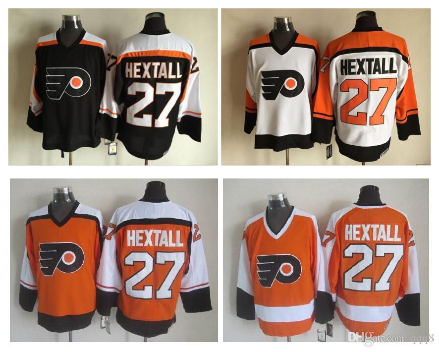 Top kwaliteit ! Mannen Philadelphia Flyers Ice Hockey Jerseys # 27 Ron Hextall Vintage CCM Authentieke Stitched Jerseys Mix Order!