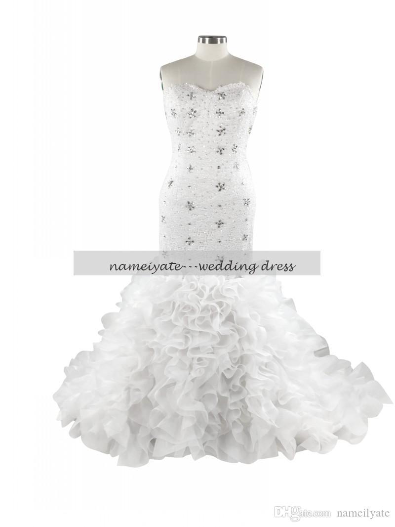 2017 White Mermaid Sweetheart Lace-up Floor Length Sleeveless Rhinestone Applique Plus Size Lace Wedding Dresses Bridal Gowns