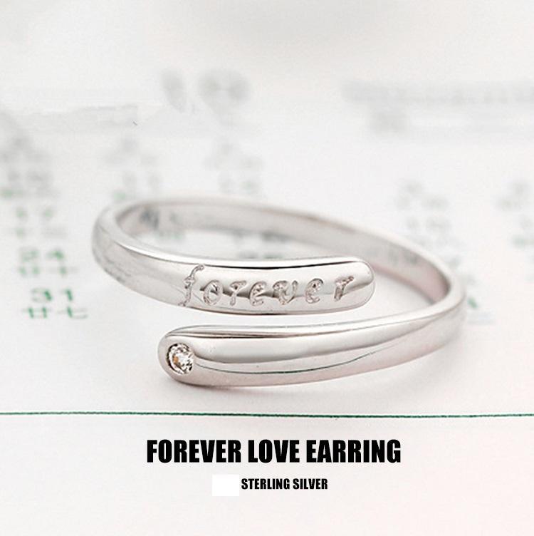 Verzilverd Crystal Ring Forever Letters Vintage Charms Nieuwe Collectie Ring Gift Gratis verzending