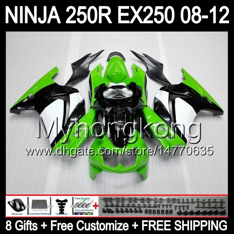 KAWASAKI ZX 250R EX250 08-12 MY24 녹색 흰색 ZX250R를 들어 8Gifts + 바디 08 09 10 11 12 EX 250 ZX250R 2008 년 2009 년 2010 2011 2012 바람막이