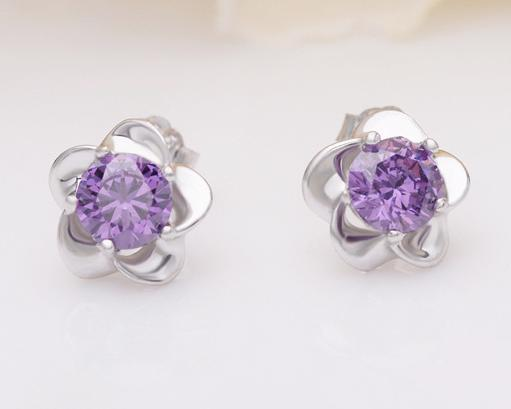 925 Sterling Silver Stud Earrings Fashion Jewelry Five Leaves Flower with Zirconia Crystal Elegant Style Earring for Women Girls MOQ 100 pcs