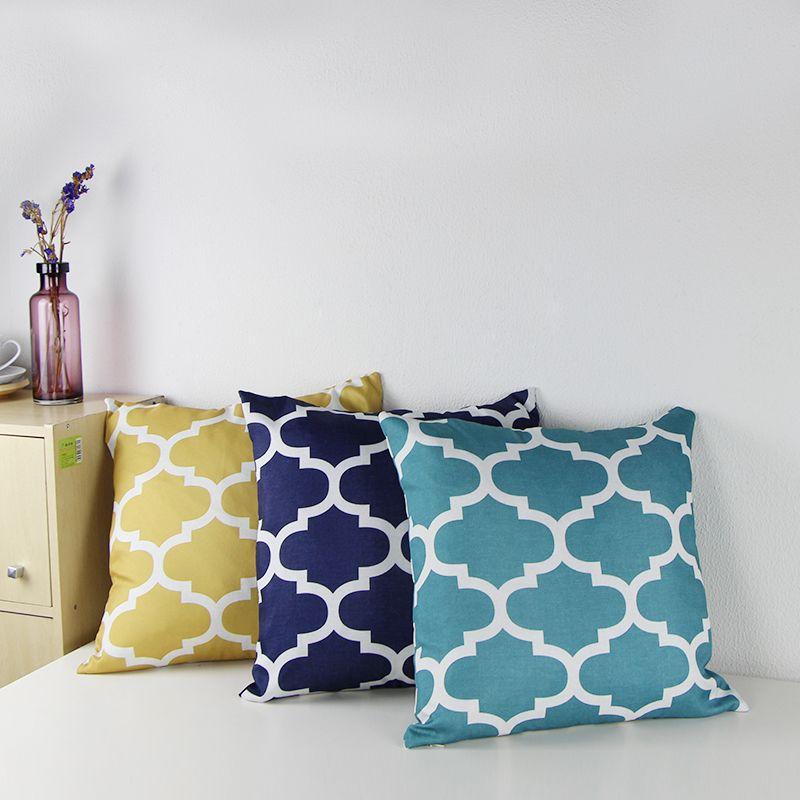 "Cotton Canvas Quatrefoil Accent Decorative Throw Pillows Square Sofa Pillow Covers Print Cushion Cover 18X18""(Gold,Navy,Teal)"