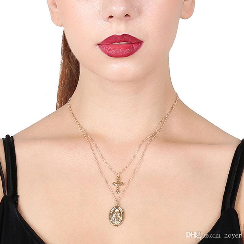 European and American style blessed vrgin cross pendants multilayer necklaces for women two layers necklaces jewelry accessories