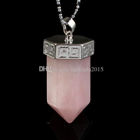 Розовый кварц Малахит и т. д. природный камень большой шестигранной призмы точка чакры рейки маятник подвеска подвески здоровье Амулет мода ювелирные изделия 10шт