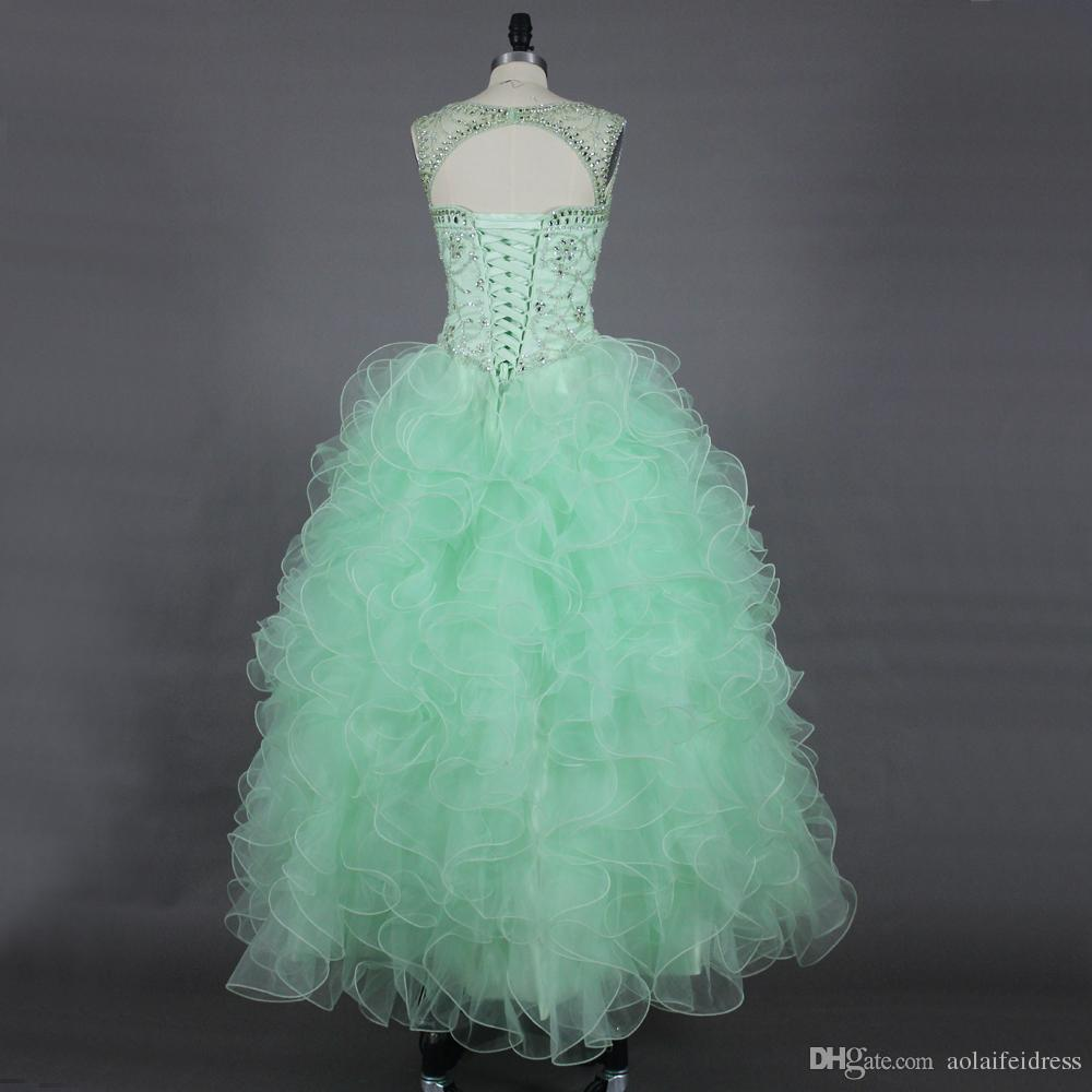 2016 Mint Green Prom Dresses Sheer Neck Beaded Crystal Bodice ...