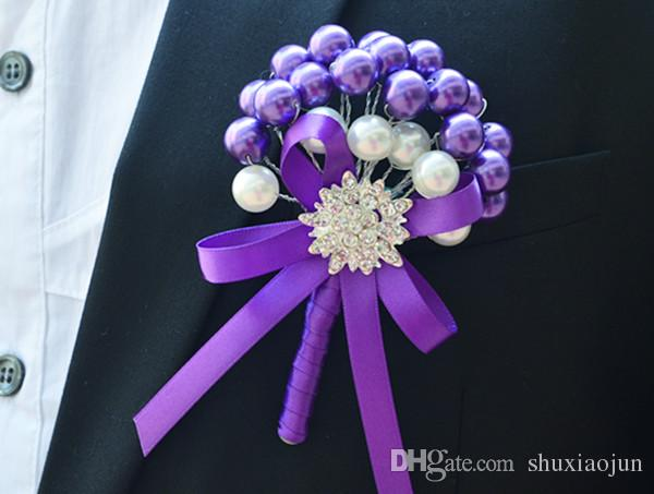 2015 Yeni Düğün Dekorasyon yapay çiçek korsaj korsaj damat gelin korsaj İnciler Ipek Gül Ücretsiz kargo