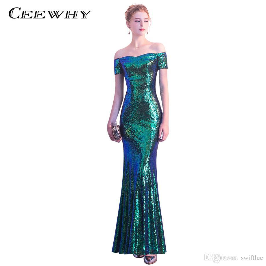Großhandel CEEWHY Kurzarm Luxus Meerjungfrau Abendkleider Lange Abendkleid  Abendkleider Grün Pailletten Abendkleider Lange Abendkleid Von Swiftlee,