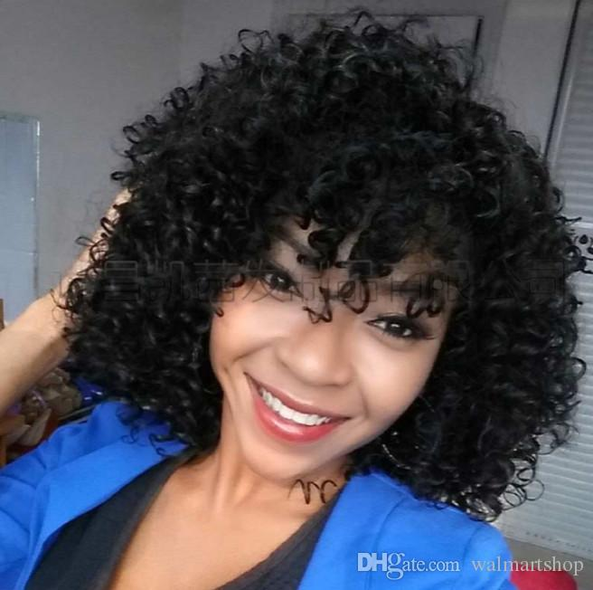 Parrucche Kinky ricci lunghi 16 pollici Parrucche Afro in pizzo corto per le donne nere Capelli sintetici in fibra ad alta temperatura bea110