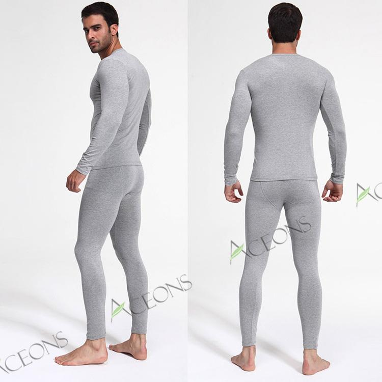 2017 Bamboo Fiber Thermal Underwear Men Winter V Neck Ultra Thin ...