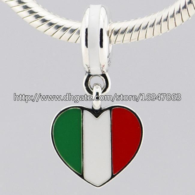 S925 стерлингового серебра Италия сердце флаг мотаться Шарм шарик с эмалью подходит Европейский Пандора ювелирные изделия браслеты ожерелья кулон