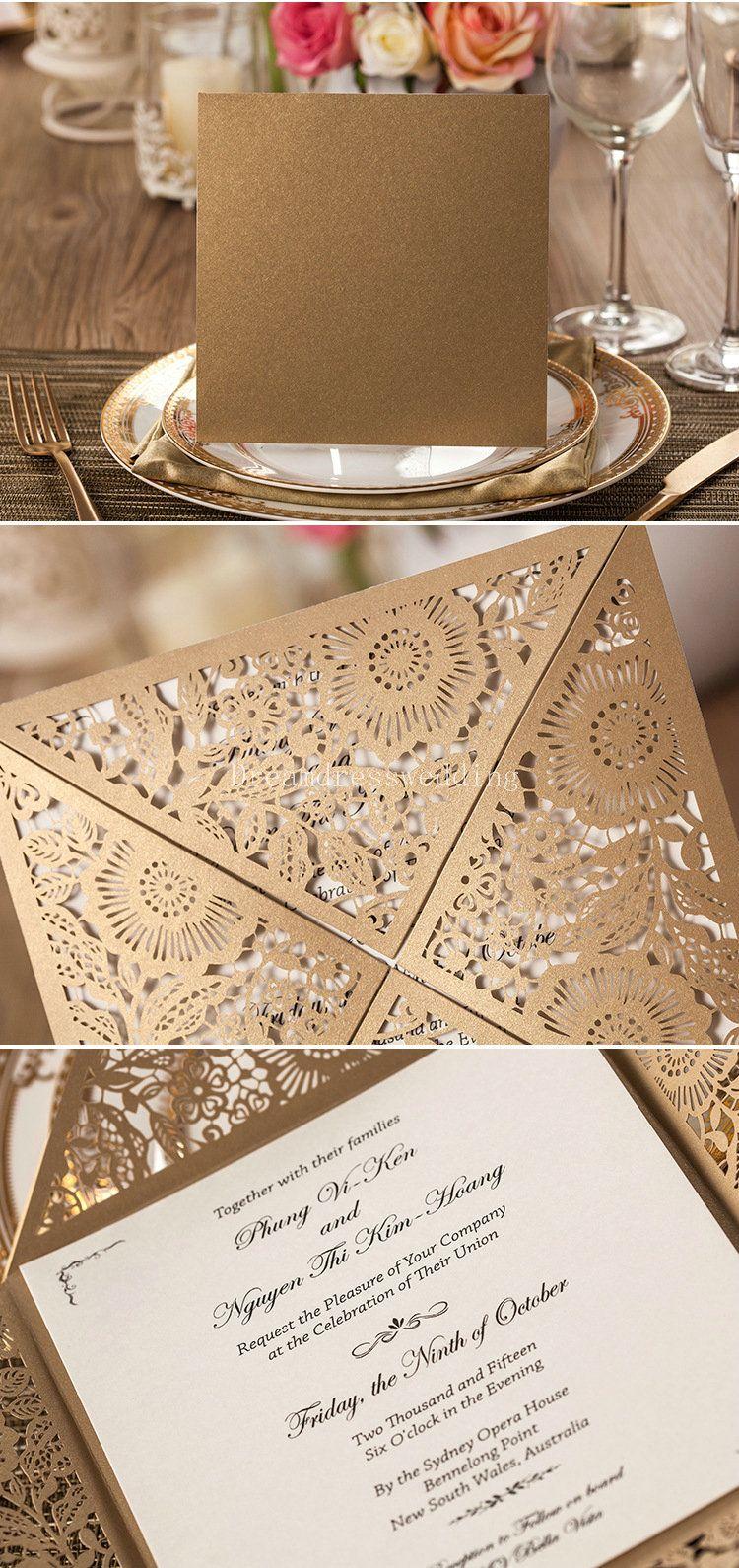 Fast Shipping Wedding Invitations Card Rustic Laser Cut Wedding ...