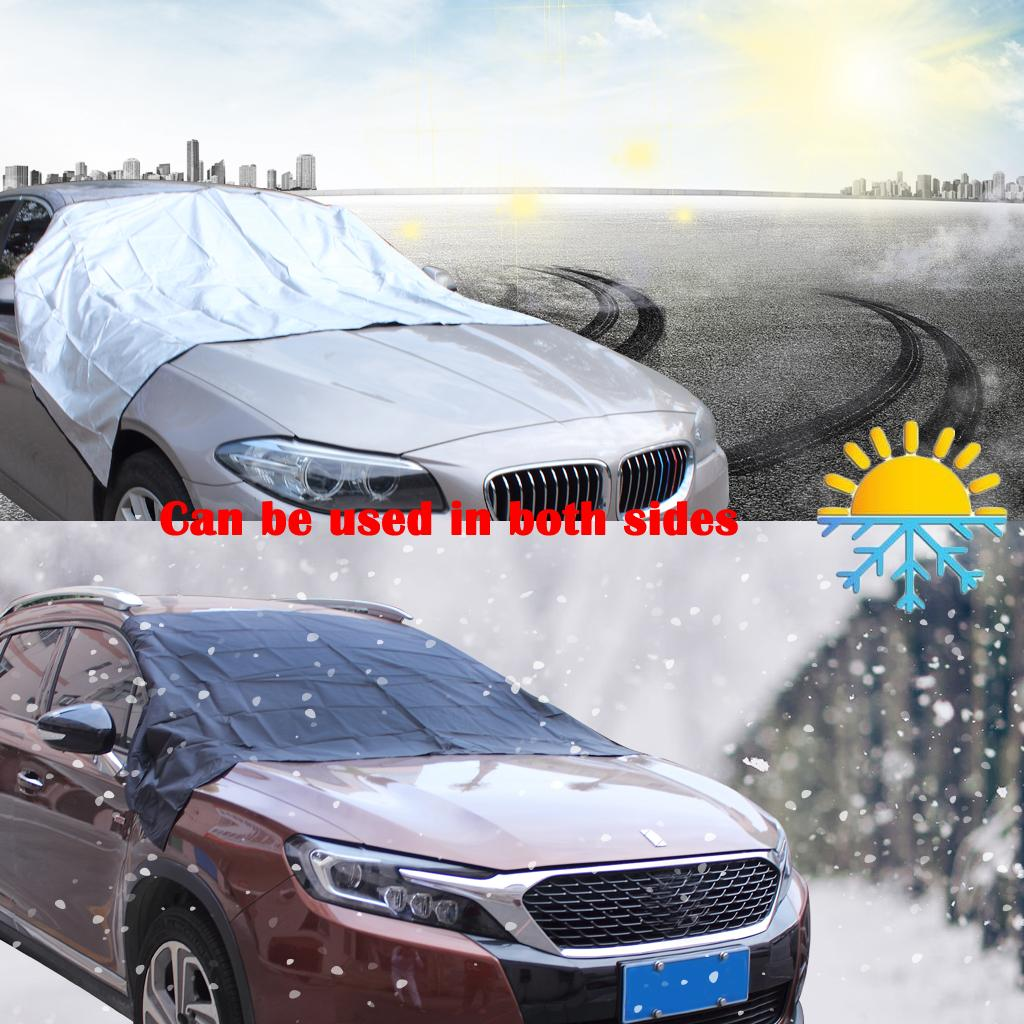 Car Universal Cover Windshield Front Window Cover Dust Rain Snow Resist Cover Truck SUV Ice Free Protector Sun Shield with Storage Pouch