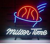 """Miller Time Neon Sign Display Commercial Lamp Handcrafted Custom Real Glass Game Room Pub Basketball Neon Signs Free Shipping 17""""X14"""""""