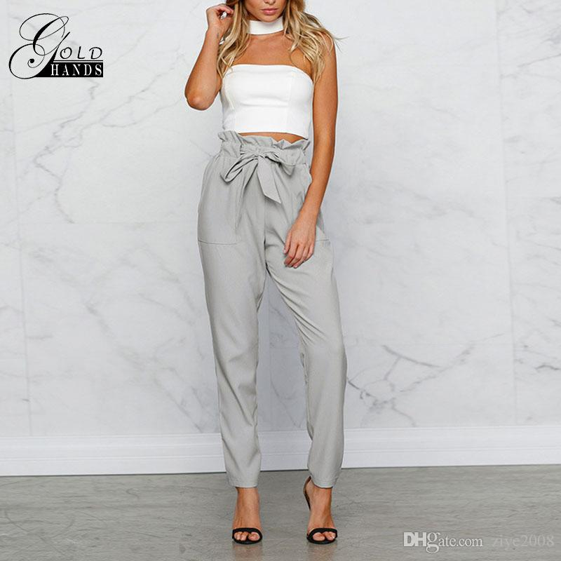 perfect quality browse latest collections discount up to 60% 2019 Women Chiffon High Waist Harem Pants Bow Tie Drawstring Sweet Elastic  Waist Pockets Casual Trousers Pantalones Women Pants From Ziye2008, &Price;  ...