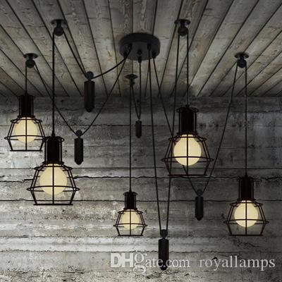 Novelty spider Pulley pendant Lamp kitchen Bar adjustable Retro chandelier industrial lighting candelabro Dining Room vintage pendant light
