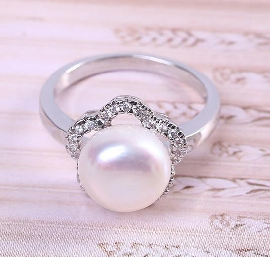 Hot sale new Flower shape 8-9mm natural pearl rings S925 Silver J006