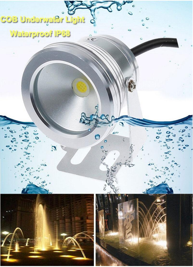 2019 10W COB Led Underwater Lights Swimming Pool Lights DC12V Cool / Warm  White IP68 Waterproof Foutain Pool Lamp Lighting Fixture From Zidoneled, ...