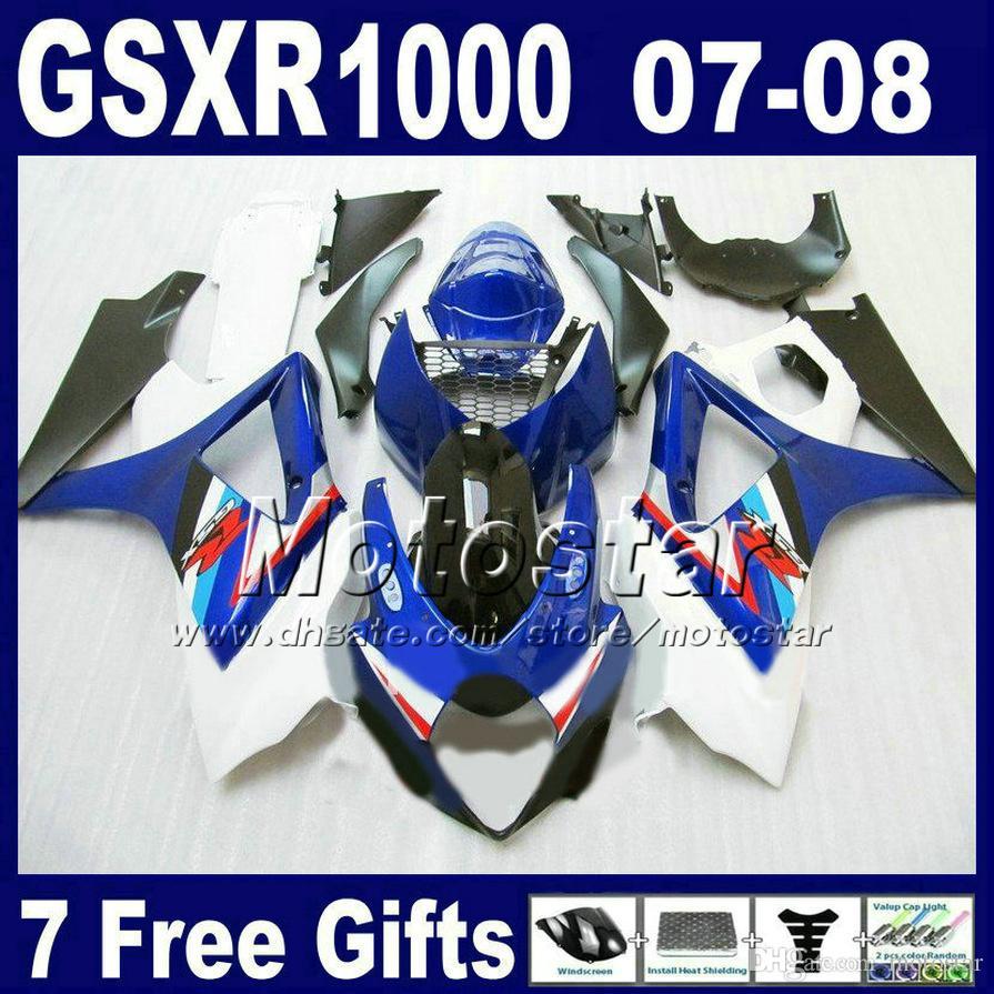 Zestaw Fairing ABS dla Suzuki 2007 2008 GSX-R1000 K7 WŁAŚCICZENIA GSXR1000 07 GSXR 1000 08 Blue Whte Black Motobike Set FD24 + SEAT Cowl