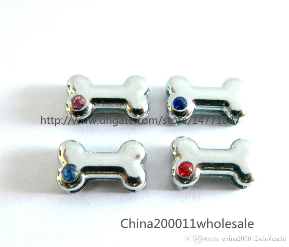 10pcs Dia.10mm interna può all'ingrosso attraverso 10mm domestico della cinghia di fascini dello scorrevole banda collare miscela libera del colore strass osso