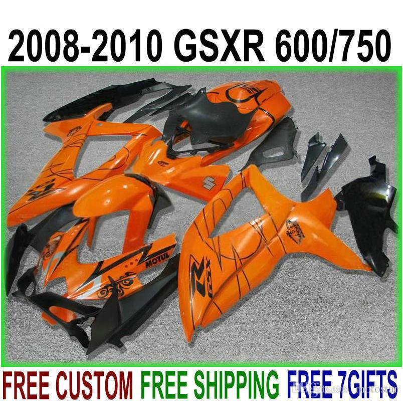 7 kit de carenagem de presentes grátis para SUZUKI GSXR750 GSXR600 2008-2010 K8 K9 carenagem laranja preto GSX-R600 / 750 08 09 10 VE57