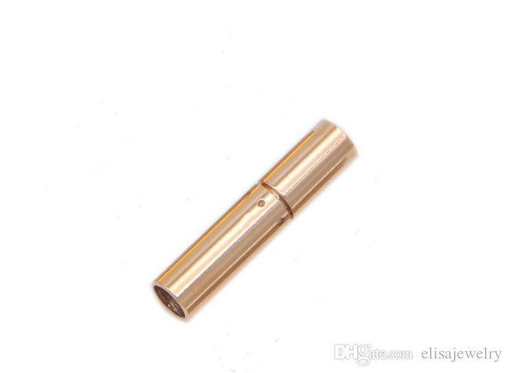 Edelstahl-Bajonettverschluss für Halskette, Säule, Roségold, poliert, verschiedene Größen vorhanden, originale Farbe, verkauft von Menge, 20pcs / Lot