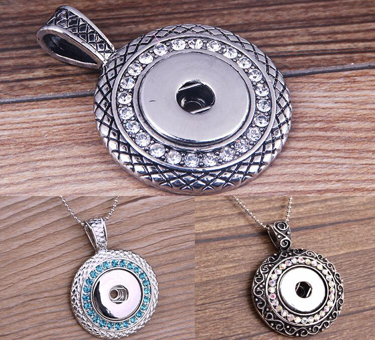 2020 Colors metal Ginger Snap Button Pendants Necklace with Crystal Jewelry Interchangeable Jewerly 3 Styles for Choices