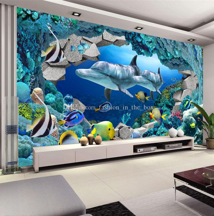Großhandel Underwater World Fototapete Custom 3D Wandbilder Cute Dolphin  Tapete Kinderzimmer Jungen Schlafzimmer Interior Design Art Room Decor Von  ...
