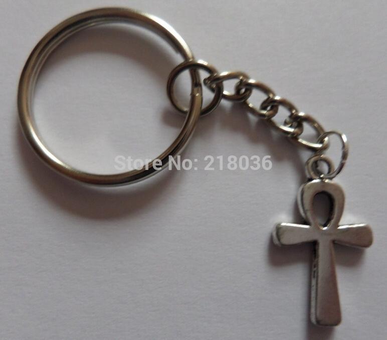 50 unids de plata de la vendimia ANKh CROSS llaveros llavero anillo para llaves gato diy bolsa llavero encantos accesorios hallazgos joyería p49