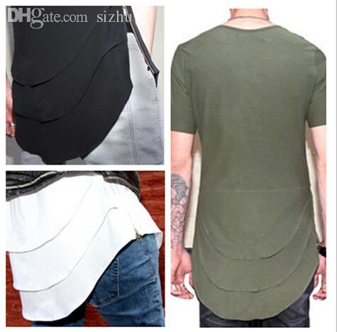 Atacado-EUA estilo estendido t shirt dos homens novo personalizado fishtail multi fold curvo hem zipper manga curta longline t camisas hip hop