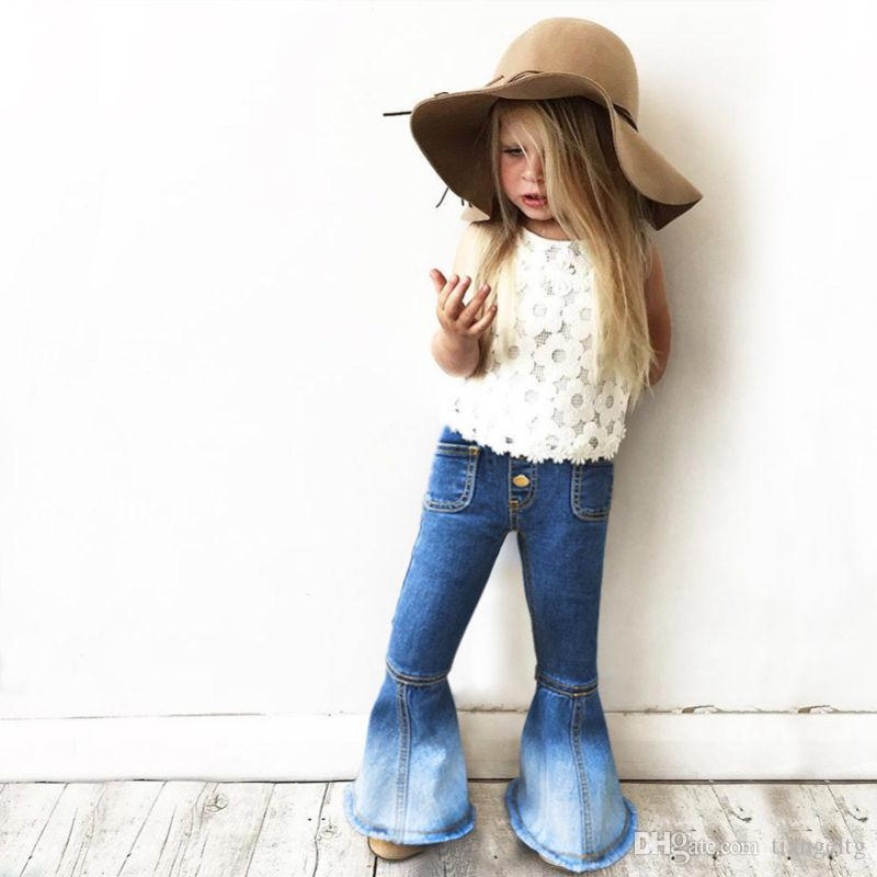Girls' Denim Jeans Boot Cut Shinny Trouser Legs Gradient Denim To White Contrast Patchwork Little High Elastic Waist Fashion Pants 1-7T