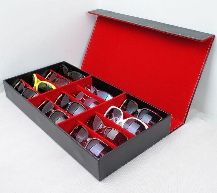 بو الجلود المحمولة مربع السفر نظارات نظارات عرض شبكة تخزين حالة صندوق