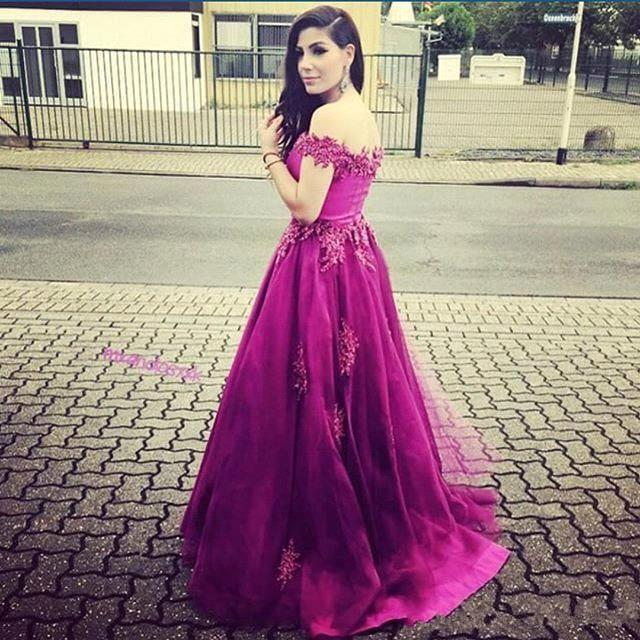 2016 sexy fucsia sexy fuera del hombro vestidos de baile con cuello moldeado Una línea de barrido de tren árabe Dubai fiesta formal vestidos de noche